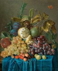 ein früchtestillleben mit trauben, kirschen, zitronen und pflaumen by johann daniel bager