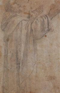 frate girato con le braccia alzate in preghiera by lionello spada