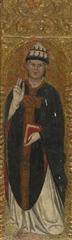 a papal saint, holding a book with one hand raised in benediction by taddeo di bartolo