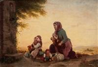 mutter mit kindern vor einem bildstock by johann georg meyer von bremen