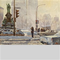 blowing snow, dominion square & dorchester ave by andris leimanis