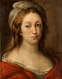 porträtt av ung dam i röd klänning by sofonisba anguissola