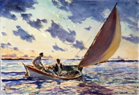 sailing on the open sea by john whorf