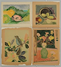 fruit still life and floral arrangement (4 works) by beulah tomlinson
