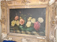 cottage roses (+ pinks; 2 works) by josephine haswell miller