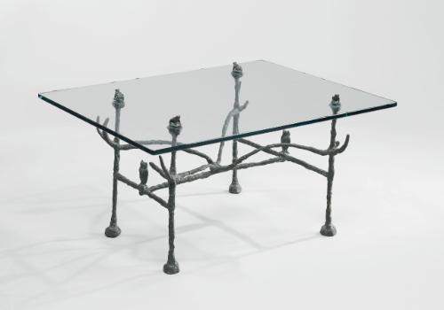 table basse trapezoidale modèle aux hiboux et aux grenouilles by diego giacometti