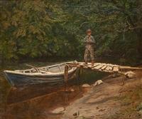 le pêcheur près de la barque by olaf viggo peter langer
