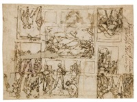 early designs for the ceiling in the sala d'ercole, palazzo farnese, caprarola; designs for two lunettes and hercules (recto-verso) by federico zuccaro