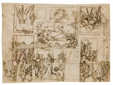 early designs for the ceiling in the sala dercole palazzo farnese caprarola designs for two lunettes and hercules recto verso by federico zuccaro