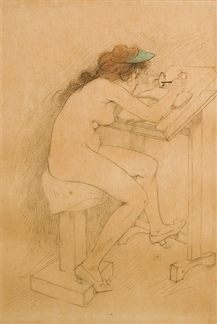 fillette à la table de dessin by armand rassenfosse