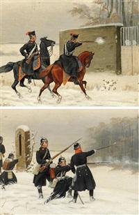 drei gemälde: winterszenen aus dem deutsch-französsichen krieg (3 works) by christian sell