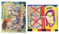 composition avec figure dans un fauteuil; composition (2 works) by fred bervoets