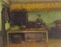 sitzender bauer in einem interieur by friedrich (fritz) raupp