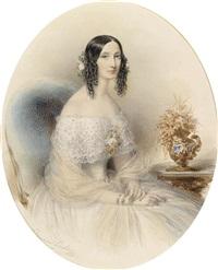 bildnis einer jungen dame in weißem kleid in einem lehnstuhl sitzend by edouard ender