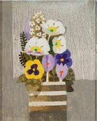 spring flowers, crocus and pansies in a pot by mary fedden
