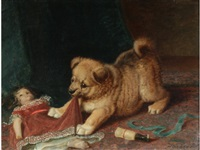 a dog pulling at a doll's dress by horatio henry couldery