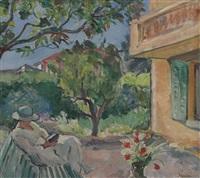 le cannet, jeune femme lisant dans un jardin by henri lebasque
