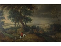 a horseman and other figures outside a village in a wooded landscape by flemish school (18)