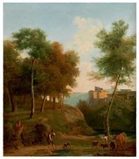 vue animée d'une partie de la ville de valmontone près de rome by jean victor bertin