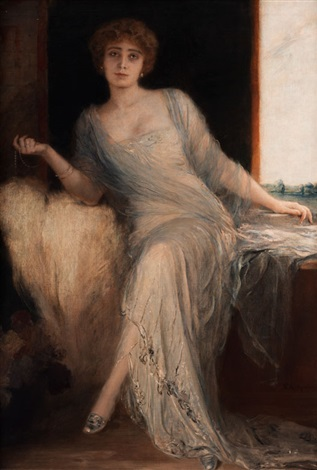 portrait einer sitzenden dame by friedrich august von kaulbach