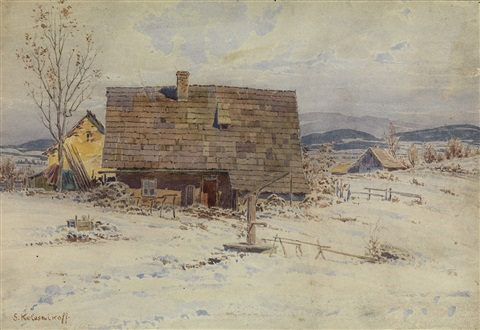 house in the snow by stepan feodorovich kolesnikov