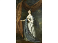 portrait of frederica, countess fitzwalter, in a silver dress with a blue cloak, standing before a draped pillar, a landscape beyond by joseph highmore
