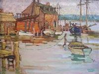 harbor scene with fishing boats by yarnall abbott