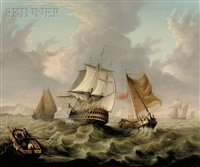 the vessel northampton and small sailing craft off the coast by george webster