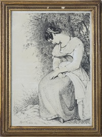 maid at rest under a tree; romantic couples (3 works) by joseph severn