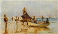 paysans bretons au bord de la mer by henry edward detmold