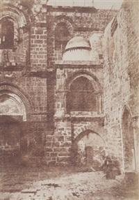 jérusalem. escalier arabe de sainte-marie la grande. saint sépulcre. vue générale de la chapelle du calvaire. saint sépulcre. détails de la façade. trois by auguste salzmann