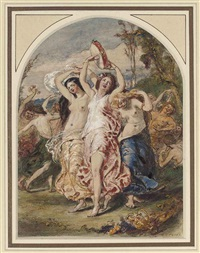 bacchanalia dancing (+ 2 others; 3 works) by william edward frost