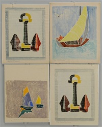 anchor; two boats at sea; sailboat under sail (4 works) by beulah tomlinson