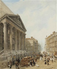 the mansion house from poultry looking down cheapside towards st-mary-le-bow with the lord mayor's coach in the foreground by frederick nash