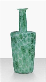 boboli-spirale verde su fondo opala vase by ermanno toso