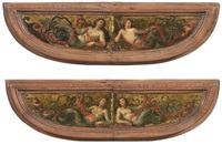 frontoni di spinetta raffiguranti ninfe con decorazione a mascheroni (pair) by sebastiano filippi the younger