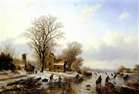 skaters in a frozen landscape by willem vester