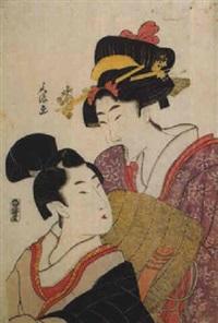 porträt von zwei frauen: komurasaki und gomdachi by bunro