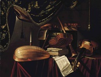 a mandolino, a lute, a violin, a guitar, a clarinet and musical manuscripts on a draped table in an interior by evaristo baschenis