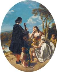 südliche uferlandschaft mit musikanten und junger frau by camille joseph etienne roqueplan
