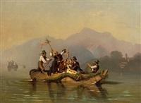 überfahrt einer hochzeitsgesellschaft auf dem wolfgangsee, im hintergrund st. gilgen by johann fischbach