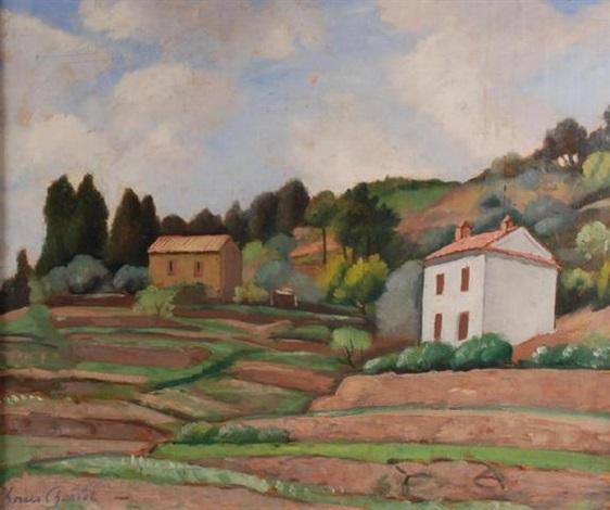 deux maisons à flanc de colline paysage by louis charlot