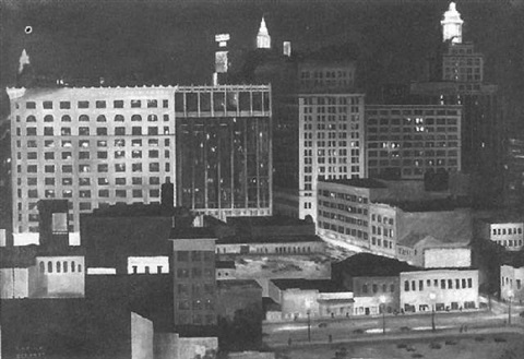 nighttime in the city of new orleans roosevelt hotel and south rampart street by la fitch