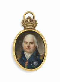 louis xviii (1755-1824), king of france -1824, in blue uniform with gold epaulettes, wearing the breast stars of the royal french order... by jean baptiste jacques augustin