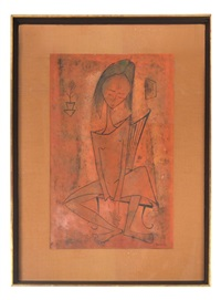 seated girl by angel botello