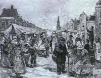 markttreiben auf einem hollandischen marktplatz by l. boom