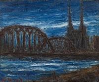 rheinansicht mit kölner dom (pont noir) by holmead (clifford holmead phillips)