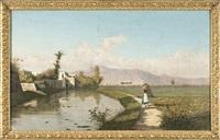 paesaggio con contadinella by attilio simonetti