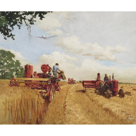 massey harris harvesters by terence cuneo