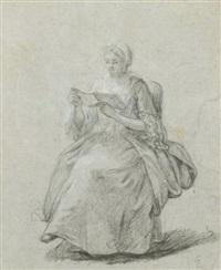 femmes assises dont une lisant (studies) (2 works) by etienne jeaurat